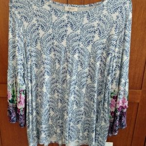 Style & Co, New Ruffle-sleeved top.  Size 1x